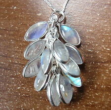 Moonstone Marquise Cluster 925 Sterling Silver Necklace Corona Sun Jewelry