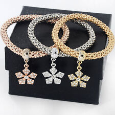 *UK* Ladies 3 set Rose Gold silver Gold flower bracelet bangle jewellery 1084