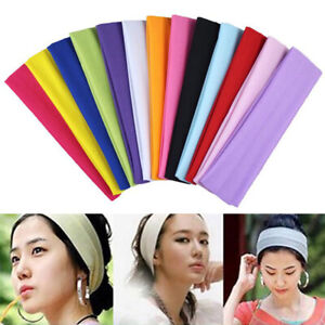 1-Pack Unisex HEADBAND Stretch Sports Yoga Gym Hair Band Wrap Sweatband Solid