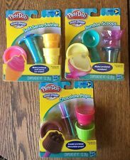 Lot Of 3 Play-Doh Sweet Shoppe Sundae Scoops Chocolate Pops Soft Serve Swirler