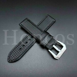 20/22/24/26 MM Carbon Fiber Black Leather Watch Band Strap fits Invicta Oversize