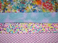 4 FQ Bundle – Colorful Prints 100% Cotton Quilt Craft Fabric Fat Quarters