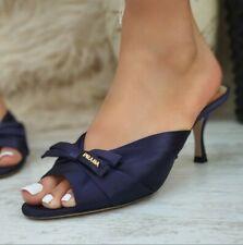 Authentic Beautiful Prada Blue Satin Sandals Mules Shoes Kitten Heels SB102