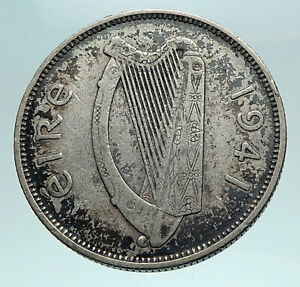 1941 IRELAND w HORSE LYRE HARP Vintage Genuine Silver Florin IRISH Coin i82527