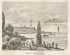 A1738 Uscita dal Bosforo - Xilografia - Stampa Antica del 1895 - Engraving