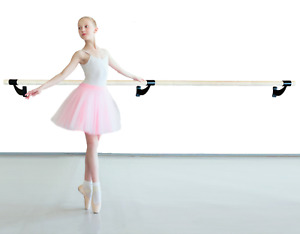 """Single Bar Wood Fixed Height Wall Mounted Ballet Barre System 4 Ft 1.5"""" Black"""
