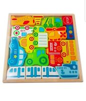 Kids Car Train Airplane Block Puzzle Game. Wooden Childrens Jigsaw Transport Toy