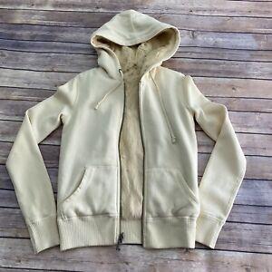 JUICY COUTURE - Ivory Rabbit Fur Zip Up Winter Snowbunny Hoodie Jacket Size P