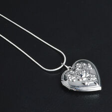 """Shiny 925 Sterling Silver PL Flower Heart Photo Locket Chain Necklace 18.1"""" Gift"""