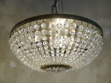 CRYSTAL PEARL CHAINS CEILING LAMP LIGHT CHANDELIER USED PLAFONNIER BRASS