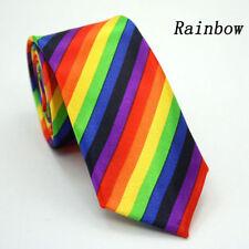Men's Tie Rainbow Stripe Necktie Narrow Slim Skinny Tie - Brand New