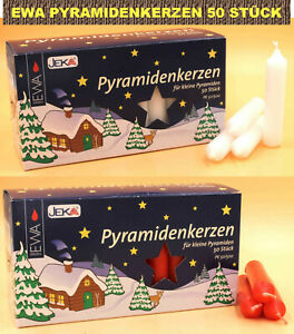 Pyramidenkerzen Weiß / Rot EWA JEKA Ebersbacher Deutsche Qualität Kerze PK50/500
