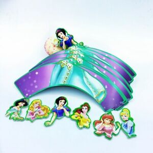 24Pcs Princess Cupcake Wrappers and Toppers Ariel, Belle, Jasmine, Snow White
