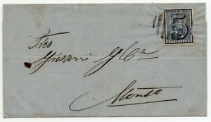 1866 URUGUAY COVER, SCARCE 5c IMPERF STAMP, BARS CANCEL $180.00
