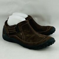 Womens 9M Privo by Clarks Ankle Shoes Brown Suede Leather Slip On Adjustable