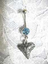 On Blue 14g Cz Belly Ring Barbell Realistic Great White Pewter Shark Tooth Charm