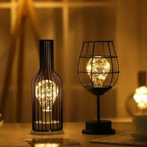 Retro Table Lamp Geometric Wire Industrial LED Lights Desk Light T6C0 K8T4