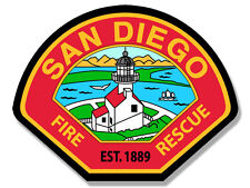 4x4 inch SAN DIEGO FIRE RESCUE Logo Shaped Sticker - firefighter logo sdf ca cal