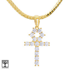 "14K Gold Plated Iced CZ Ankh Cross Pendant 24"" Miami Cuban Chain BCH 13108 G"