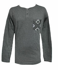 BRAND NEW VOLCOM MENS GUYS HEATHER POCKET PULLOVER T SHIRT HENLEY TOP CREW TEE L