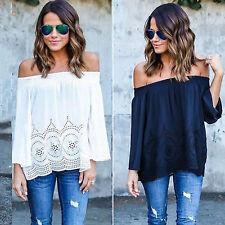 Womens Off Shoulder Lace Blouse Chiffon Shirt Tops Casual Baggy Loose T-shirt