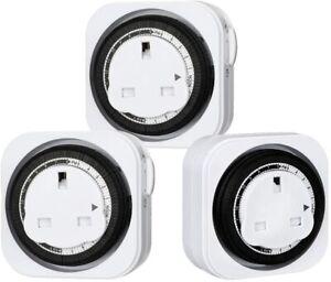 DEWENWILS  Mains Plug In Timer Socket Switch 24 Hour Light Timer UK 3Pack