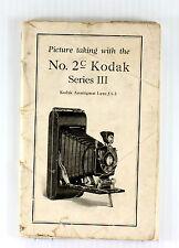 Original Kodak No. 2c Series III Camera Instruction Manual