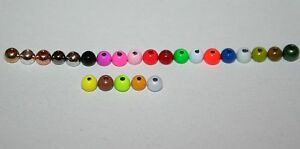 Fly Tying 25 Painted Tungsten Beads 24 colours 6 sizes very dense deep sinking