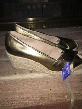 NWT OK YES MONTE CARLO METALLIC GOLD WEDGE Drag Queen High HEELS WOMENS SZ 11 ❤️