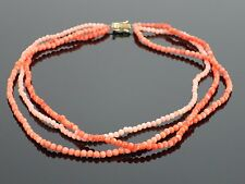 Vintage Natural Coral Bead Triple Strand Layered Necklace 18K Clasp, 25.7g