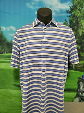 RALPH LAUREN POLO MENS GOLF SHIRT BABY BLUE WHITE STRIPE SIZE SMALL