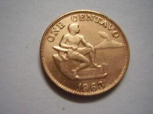 1963 Philippines 1 One Centavo Coin KM 186