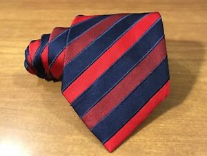 """Mens Stefano Ricci Italy 4.25""""/63.5"""" Red Navy Blue Regimental Striped Button Tie"""