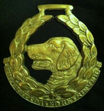 Oversized THE FLAT COATED RETRIEVER Harness Brass England RARE! WOW YOUR WALLS!