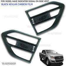 L+R Black Carbon Side Vent Indicator Fender Cover For Ford Ranger Mk2 2015 2017