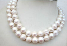 "35""L Huge 11-13MM south sea white baroque pearl necklace 14K clasp"