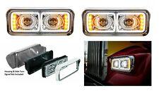 "Pair High Power All LED Chrome Headlights W/ LED Turn Signals, 4"" x 6"" Headlamps"