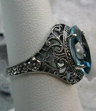 4ct Marquise *Aquamarine* Solid Sterling Silver Deco Floral Filigree Ring Size 9