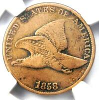 1858/7 Flying Eagle Cent 1C Overdate Penny FS-301 - Certified NGC VF Details!