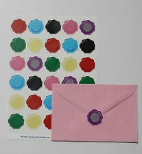 Tudor Rose wax seal effect stickers x60 weddings cards invitation - Mixed 05-08