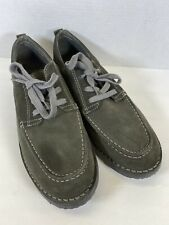 LL Bean Olive Suede Lace Up Oxford Casual Dress Mens 11.5 W EE Shoes EUC