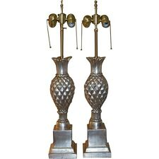Superb Pair Thomas Morgan Designer Table Lamps w Silver Leaf Pineapple Base