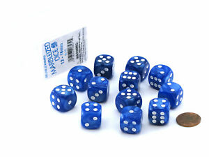 Case of 12 Deluxe Marble 16mm Round Edge Dice - Blue with White Pips