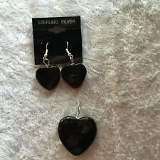 natural black onyx gemstone faceted heart pendant and sterling silver earrings
