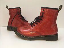 Dr. Martens Doc 1460 Combat Zippper Boot Orange Red Glitter - Women's Size 7
