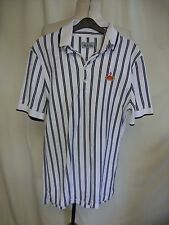 Mens Polo Shirt Vivienne Westwood size S, white with black stripes, cotton 0709