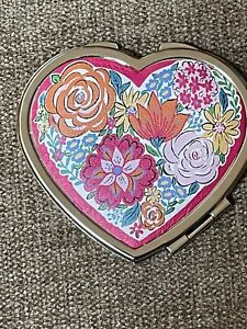 Brighton Bouquet Heart Compact Mirror New NWT Pink Flowers Retails $45
