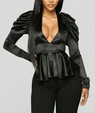 Stretchy Puff Long Sleeves Peplum Sexy Satin Black Top Party Cocktail Small S