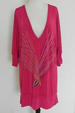 Baby Phat Top Size 1X Bat-Wing Sleeves Hot Pink Rhinestones Nylon