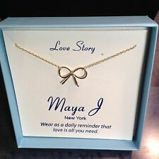 BOW Delicate 18k Gold over Sterling Silver Necklace: Love is All You Need MJ-14A